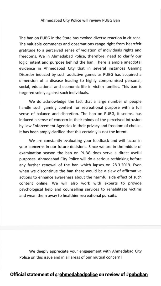 An official statement from @ahmedabadpolice on review of #pubg #ban  #pubgban #gujarat #ahmedabad #amdavad #game #mobile #mobilegame #ahmedabadpolice #review https://t.co/HextBCxGTT