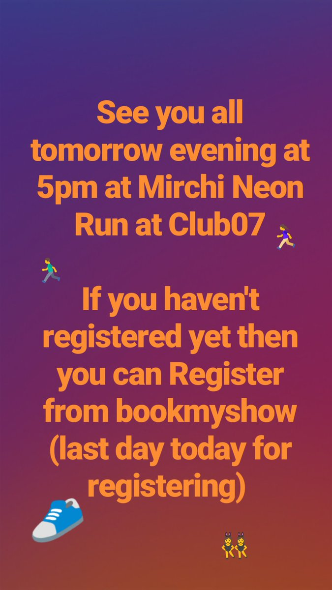 Join us for #mirchineonrun tomorrow evening as at 5pm https://t.co/V8WXu8rY33