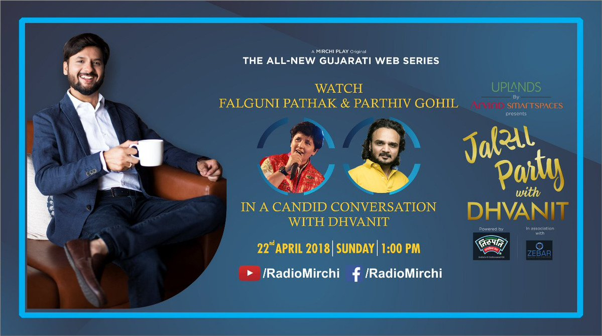Episode 5 of #jalsapartywithdhvanit launching at 1pm today with @falgunipathak12 and @parthivgohil https://t.co/ohEMwpQJi3