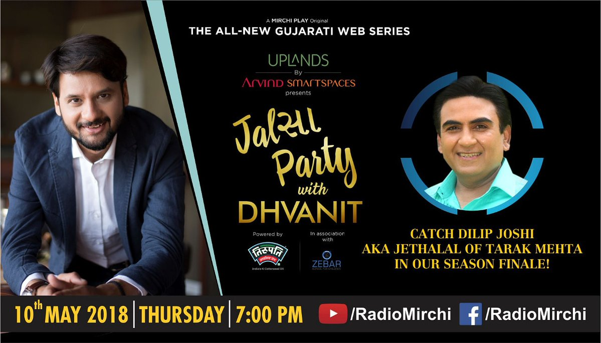 Launching the final episode of #jalsapartywithdhvanit tomo at 7pm featuring @dilipjoshie aka jethalal ftom #tarakmehta https://t.co/vGfxXiOoDx