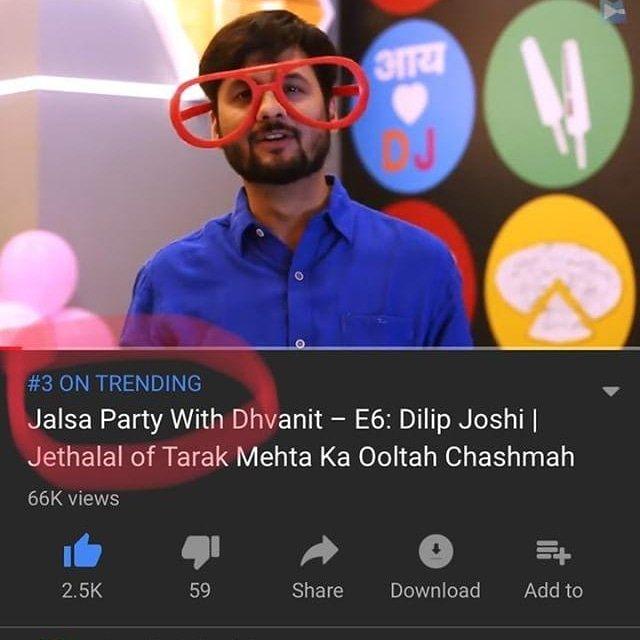 RJ Dhvanit,  JalsaPartyWithDhvanit, jethalal, youtube, dilipjoshi, tarakmehta, ooltahchasma, tarakmehtaooltahchasma, dhvanit, webseries