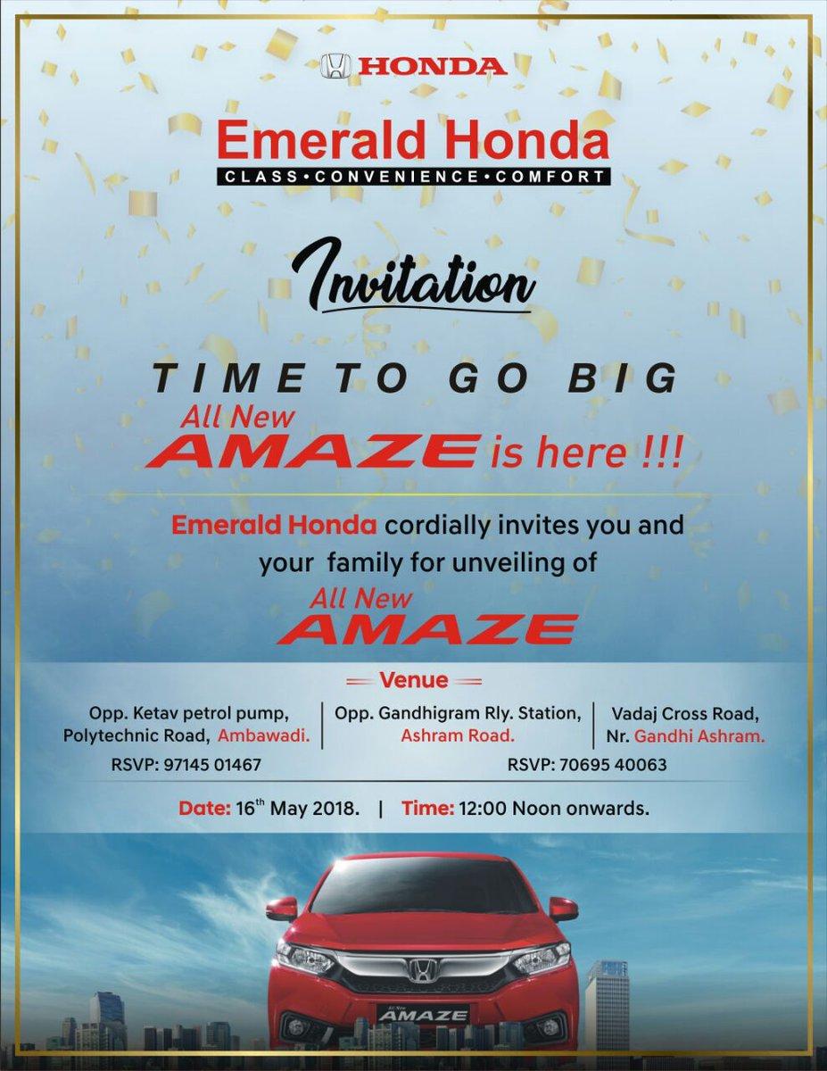 I will be unveiling new Honda Amaze tomorrow at Honda Ambawadi showroom at 12. See you there!  #newcar #car #carlaunch #hondo #amaze #amaze #ahmedabad https://t.co/EO7YVgfeqR